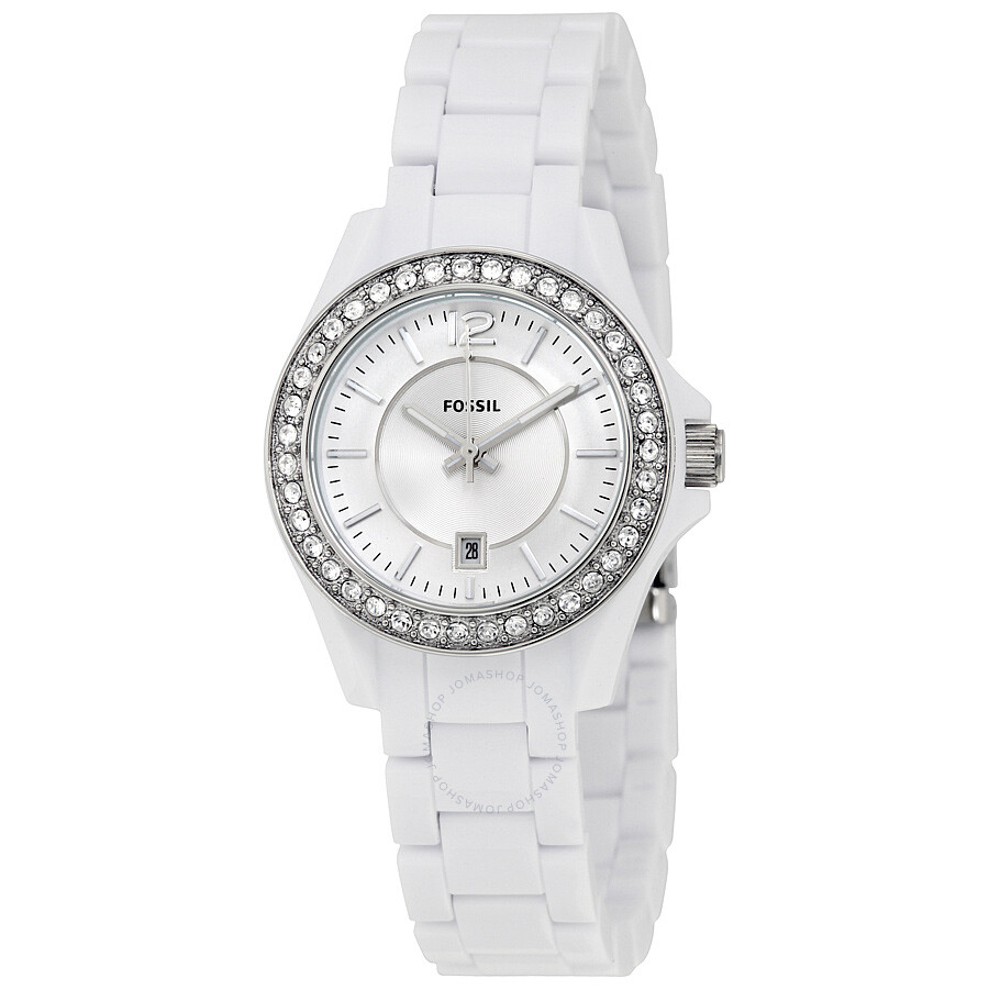 Fossil Riley Fossil Riley White Dial Crystal White Resin Ladies Watch Es3251