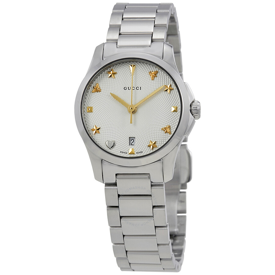 Steel Watch Gucci G Timeless Silver Dial Stainless Steel Ladies Watch Ya126572
