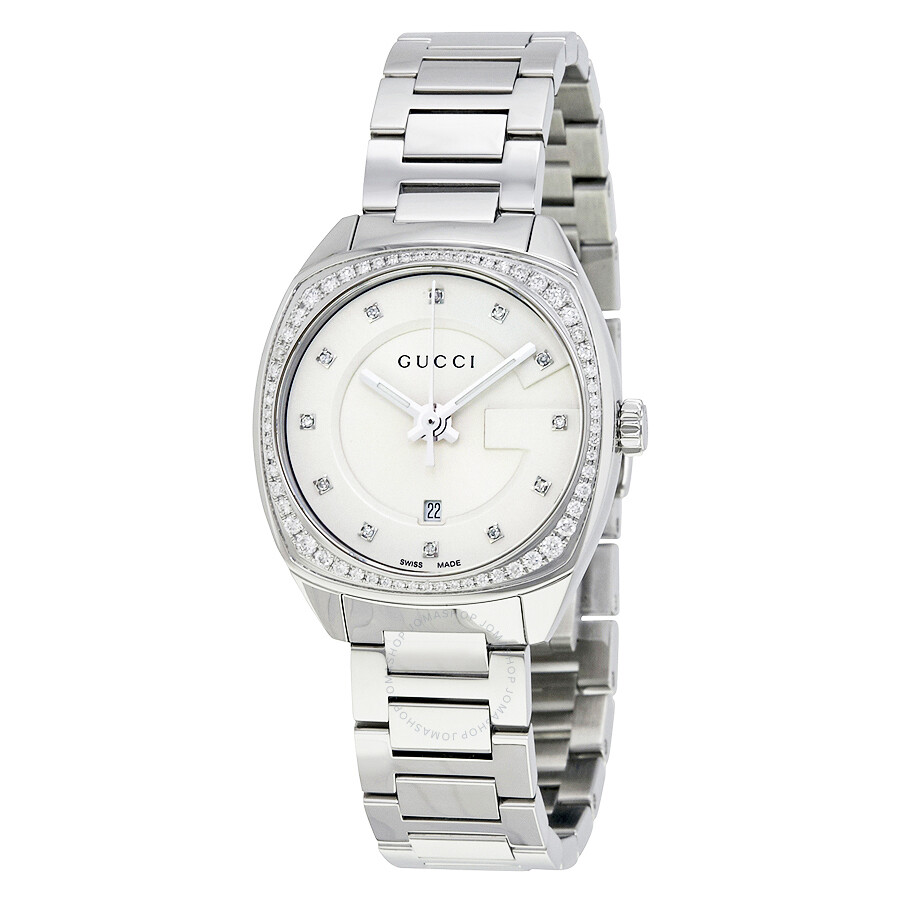I Watch Ladies Gucci Gg2570 White Dial Stainless Steel Diamond Ladies Watch Ya142505