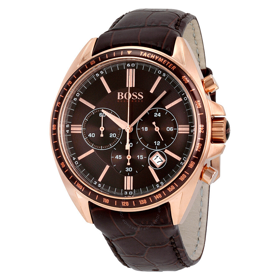 Hugo Boss Uhren Herren Hugo Boss Driver Chronograph Brown Dial Brown Leather Men