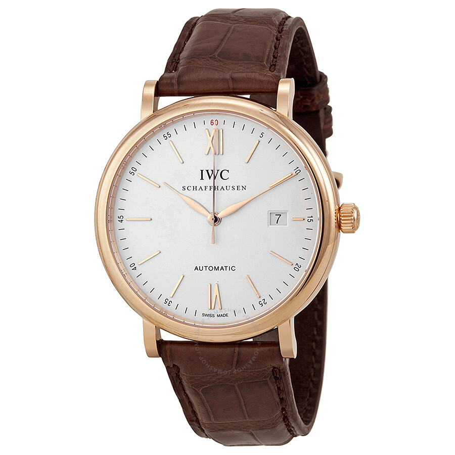 Leather Strap Rose Gold Watch Iwc Portofino Automatic Silver Dial 18kt Rose Gold Men S Watch 3565 04