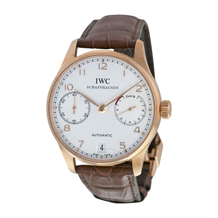 Leather Strap Rose Gold Watch Iwc Portuguese Silver Dial 18kt Rose Gold Brown Leather Strap Automatic Men S Watch 5001 13