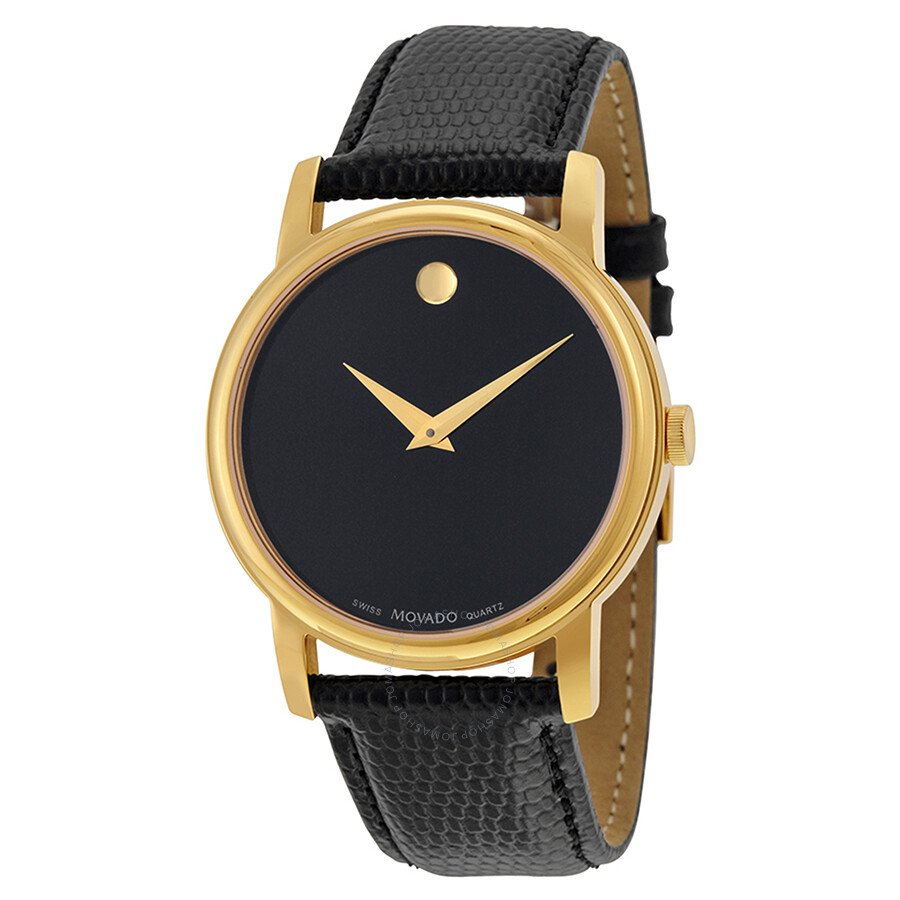 Movado Museum Movado Museum Black Dial Black Leather Men's Watch 2100005