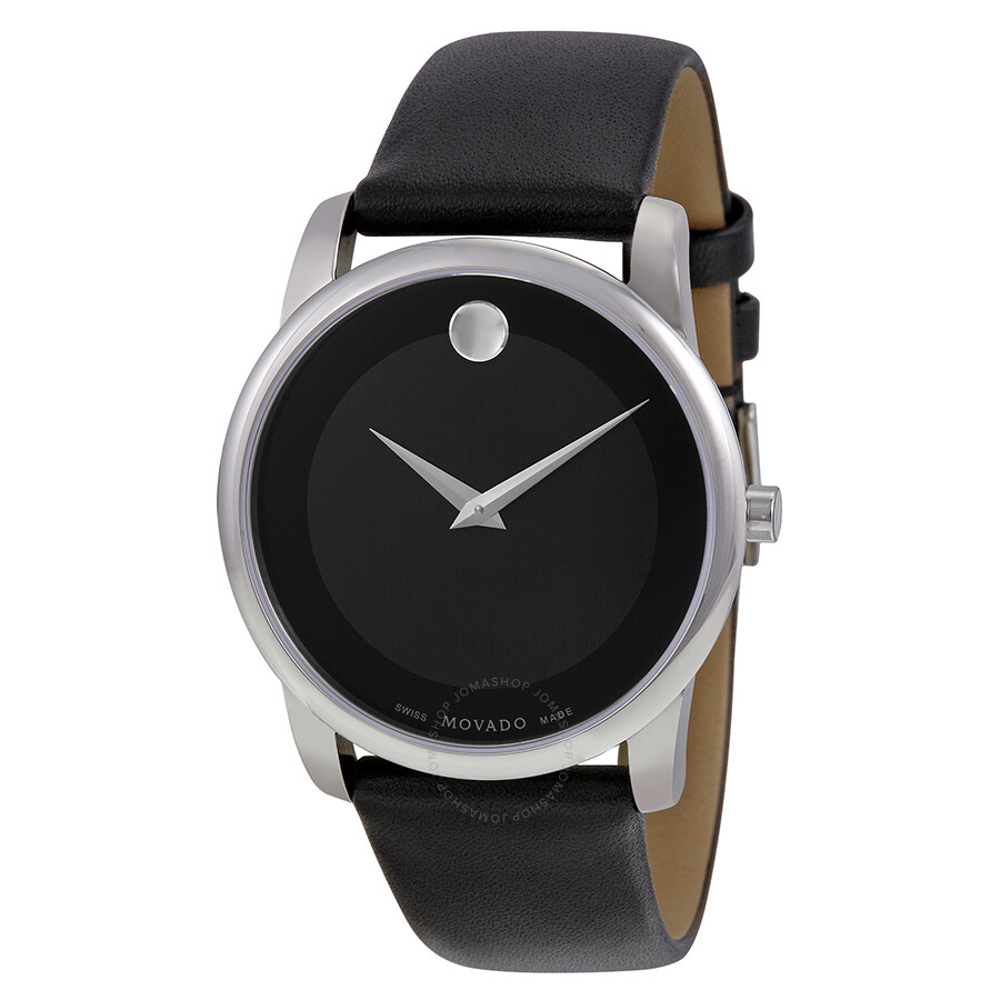 Movado Museum Movado Museum Black Dial Black Leather Men's Watch 0606502