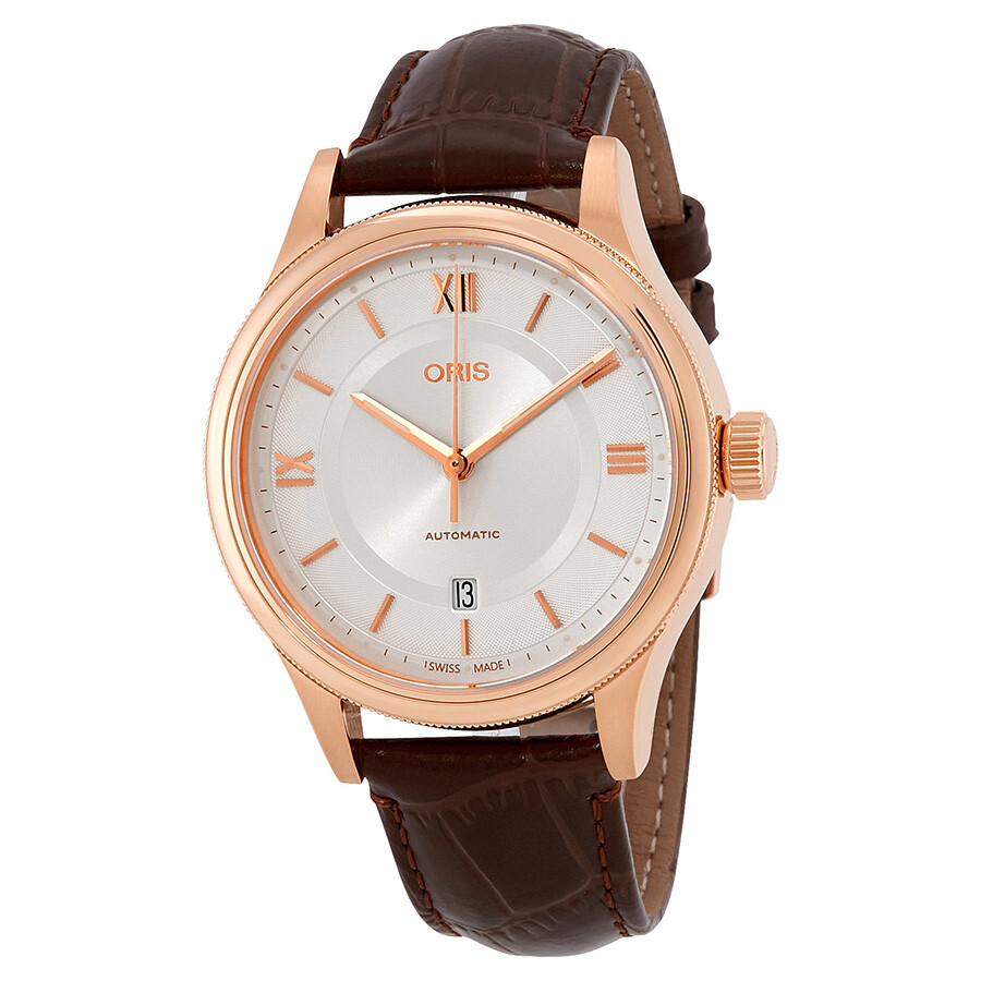 Cluse Herrenuhr Oris Classic Silver Dial Automatic Men S Leather Watch 01 733 7719 4871 07 6 20 32