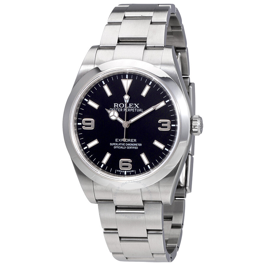 Rolex Explorer Pre Owned Rolex Explorer Black Dial Stainless Steel Oyster Bracelet Automatic Men S Watch Bkaso