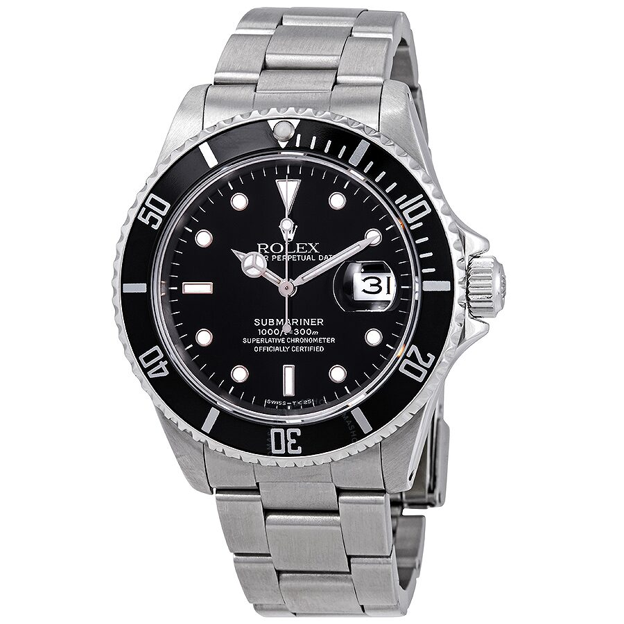 Stainless Rolex Pre Owned Rolex Submariner Black Dial Stainless Steel Rolex Oyster Automatic Men S Watch 16610bkso