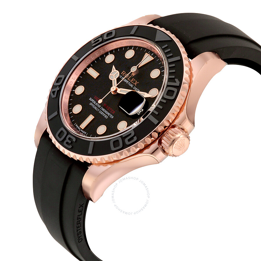 Rolex Rubber Pre Owned Rolex Yacht Master Automatic Black Dial 18kt Everose Gold Black Rubber Strap Men S Watch 116655bksrs