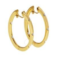 Roberto Coin 18K Yellow Gold Diamond Hoop Earrings ...
