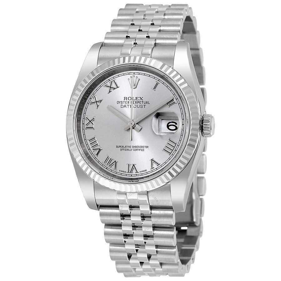 Steel Rolex Rolex Datejust 36 Rhodium Dial Steel And 18k White Gold Men S Watch 116234rrj