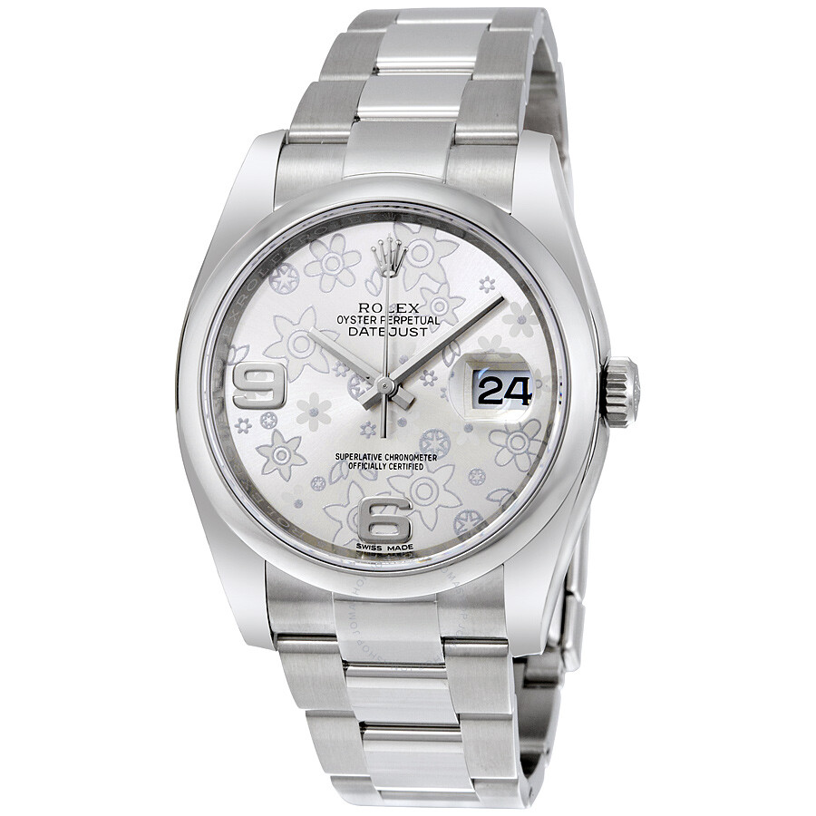 Stainless Rolex Rolex Datejust 36 Silver Floral Dial Stainless Steel Oyster Bracelet Automatic Ladies Watch 116200sfao