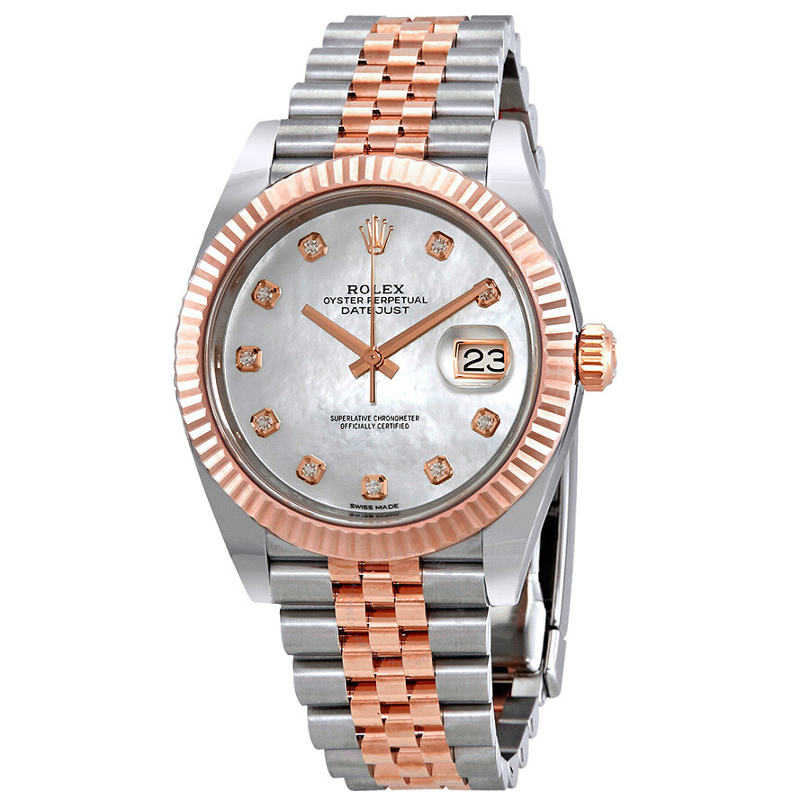 Steel Rolex Rolex Datejust Automatic Diamond Men S Steel And 18ct Everose Gold Jubilee Watch 126331mdj