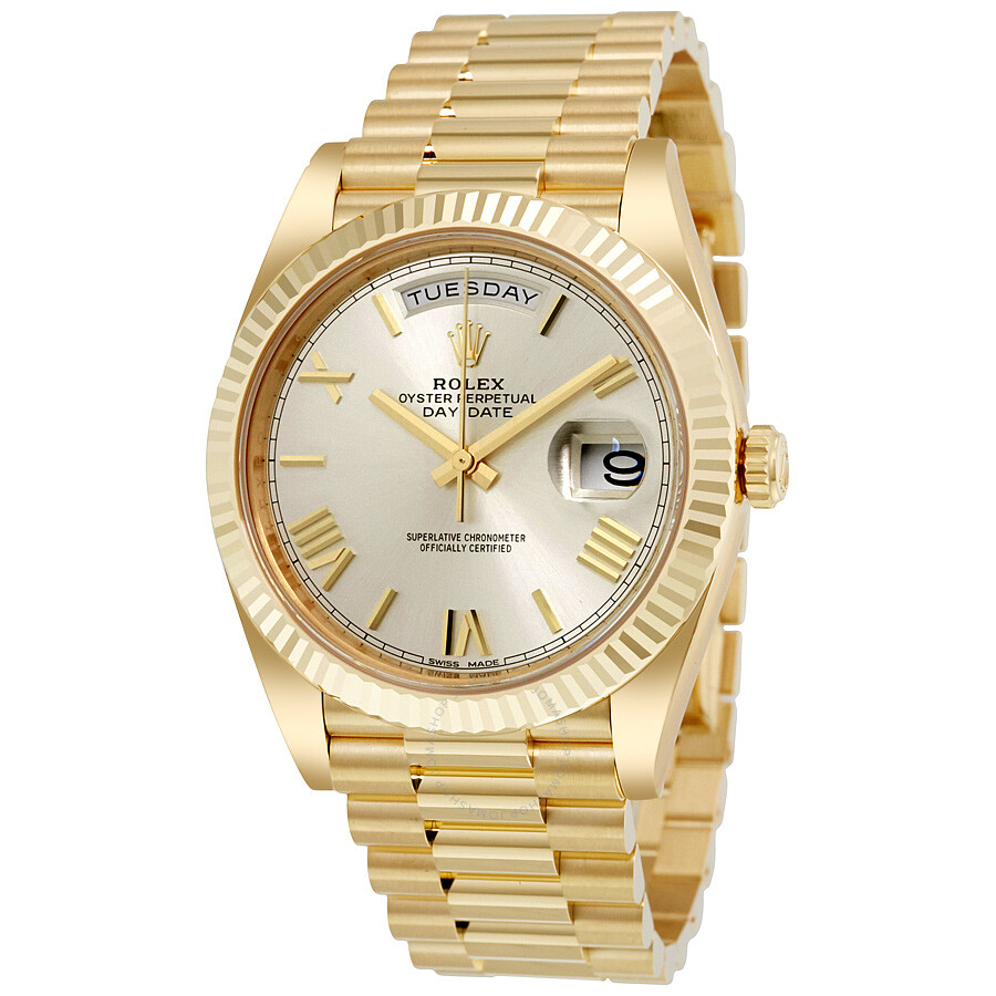 Rolex Daydate Rolex Day Date 40 Silver Dial 18k Yellow Gold President Men S Watch 228238ssrp