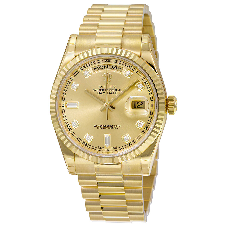 Rolex Daydate Rolex Day Date Champagne Dial 18k Yellow Gold President Automatic Men S Watch 118238cdp