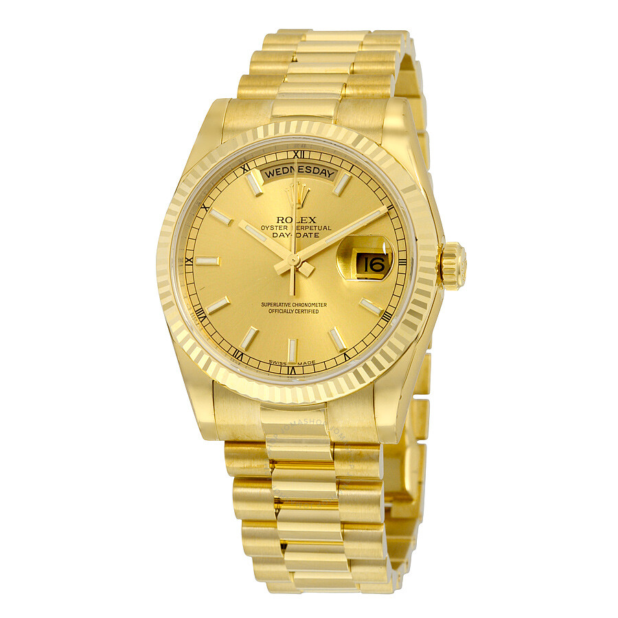 Rolex Daydate Rolex Day Date Champagne Dial 18k Yellow Gold President Automatic Men S Watch 118238csp