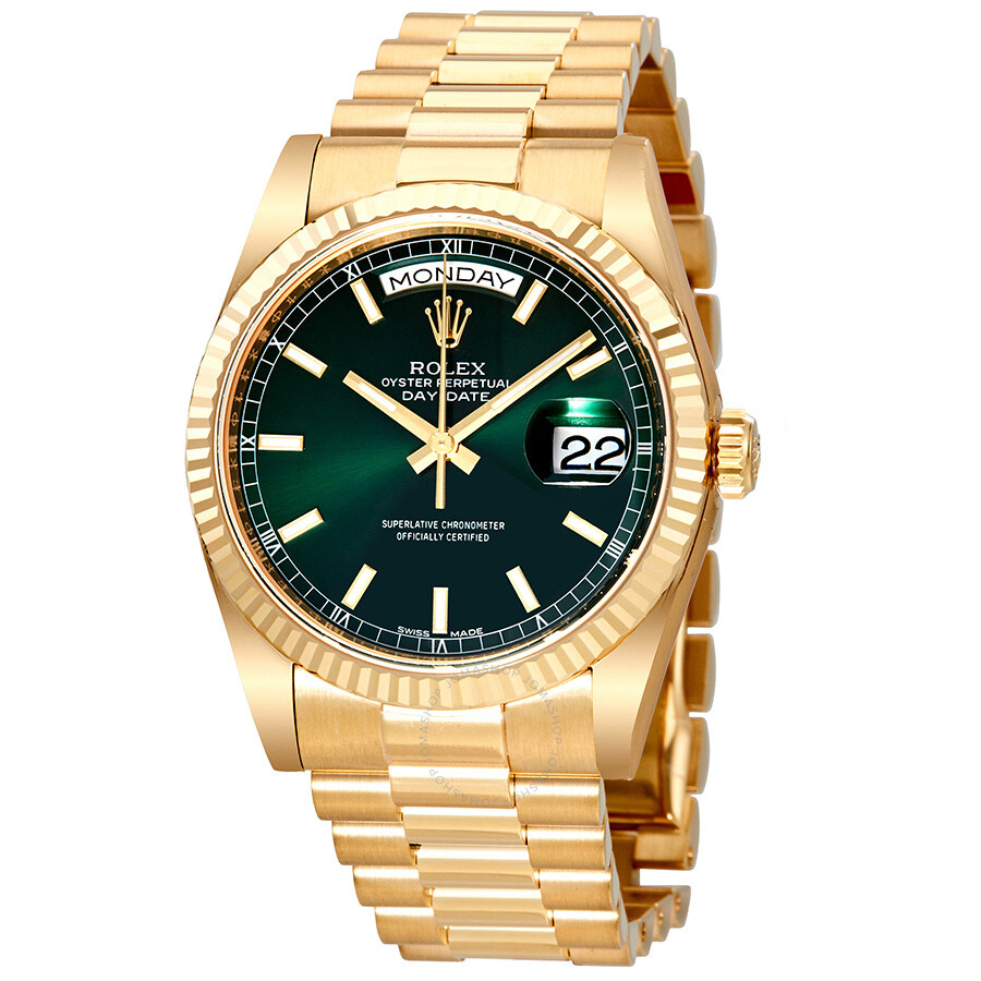 Rolex Daydate Rolex Day Date Green Dial Automatic 18k Yellow Gold Automatic Watch 118238gnsp