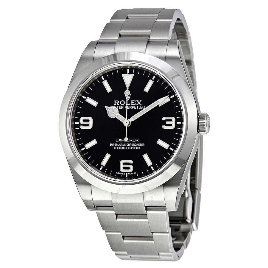 Rolex Explorer Rolex Explorer Black Dial Stainless Steel Oyster Bracelet Automatic Men S Watch 214270bkaso