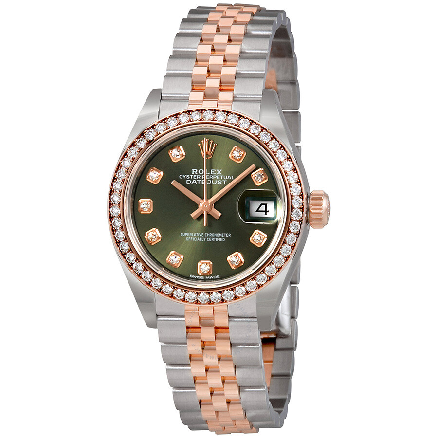 Rolex Ladies Watches Rolex Lady Datejust Olive Green Dial Diamond Automatic Watch 279381ogdj