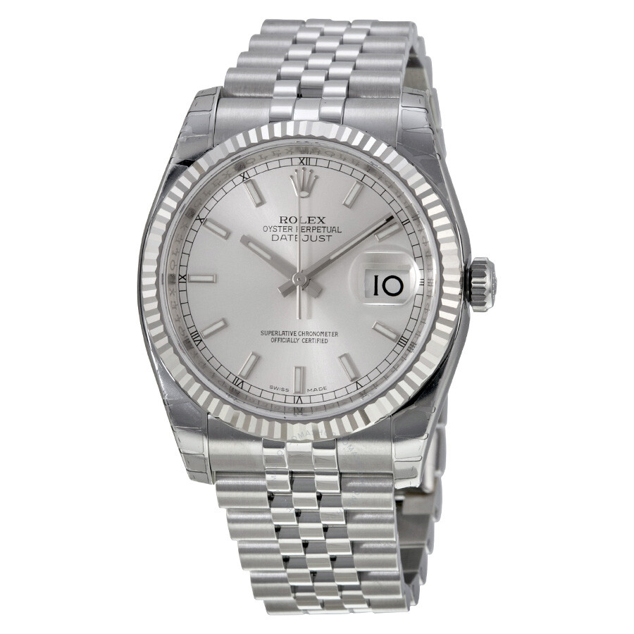 Steel Rolex Rolex Oyster Perpetual 36 Mm Silver Dial Stainless Steel Jubilee Bracelet Automatic Men S Watch 116234ssj