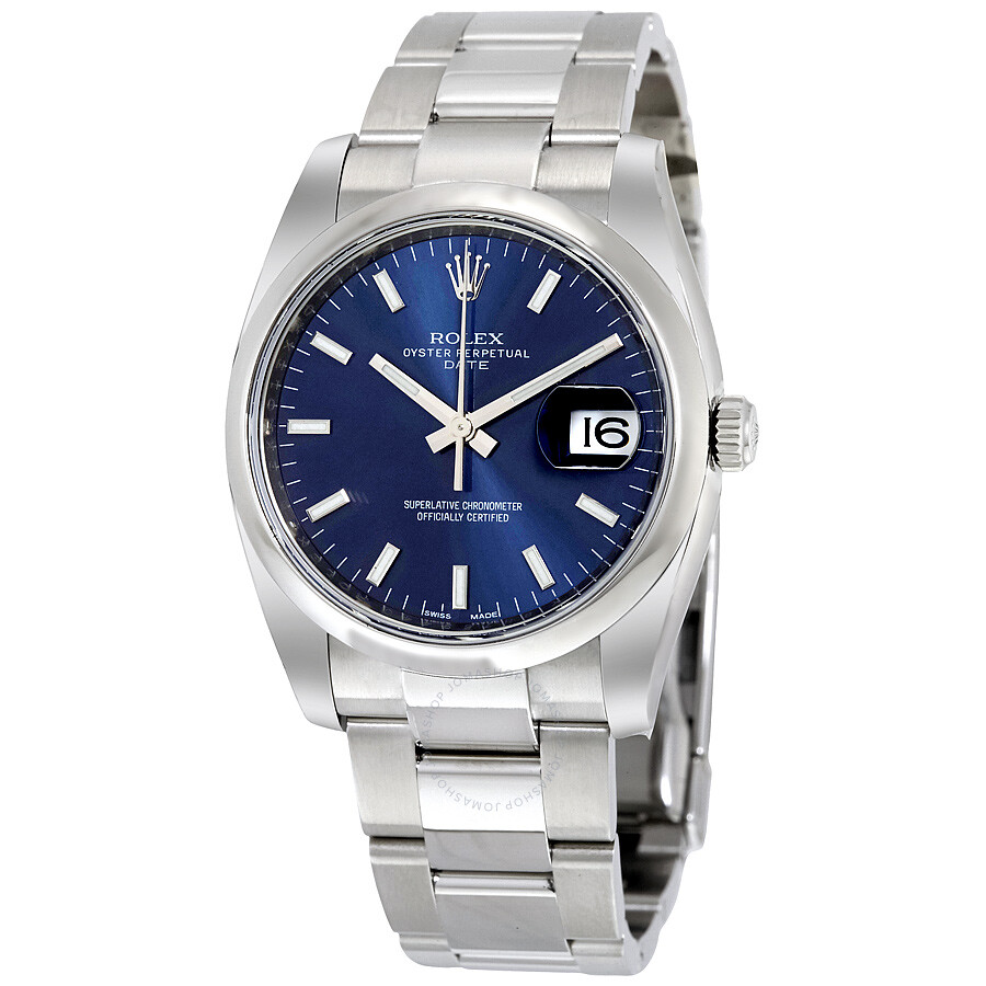 Stainless Rolex Rolex Oyster Perpetual Date 34 Blue Dial Stainless Steel Bracelet Automatic Men S Watch 115200blso