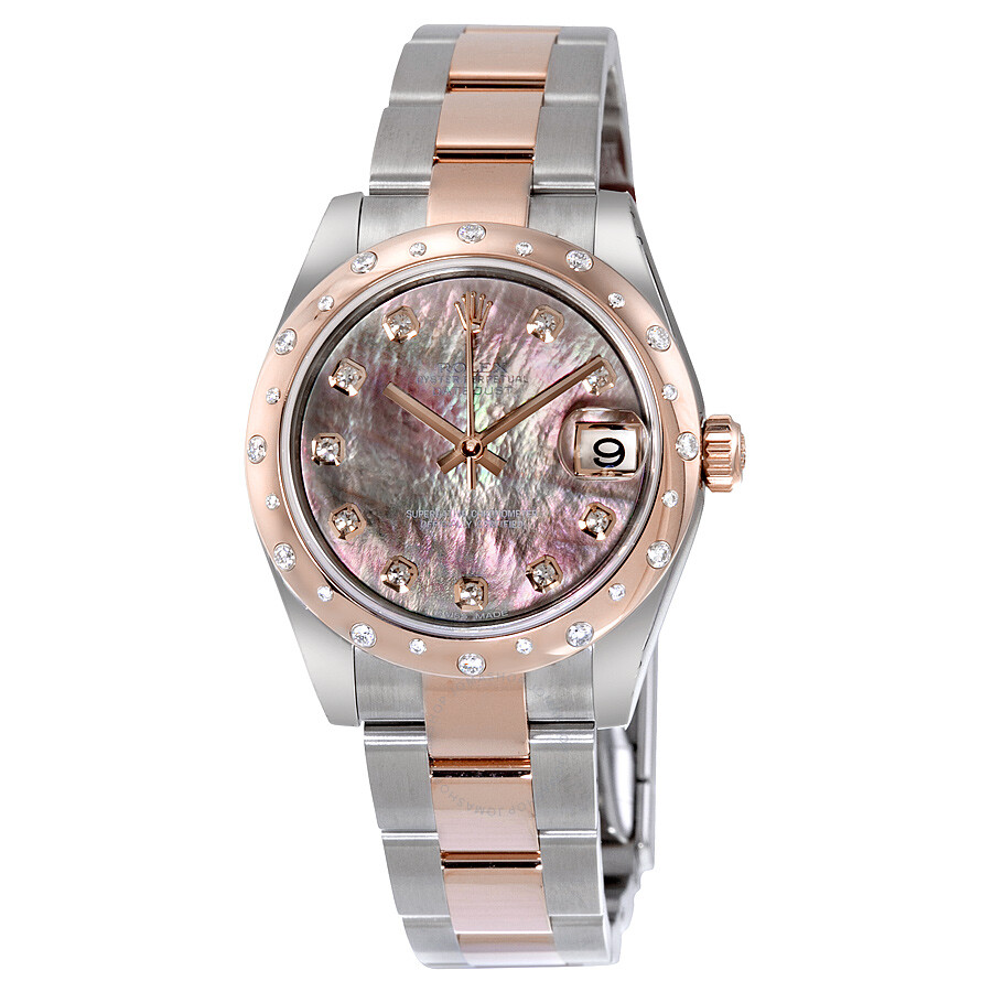 Rolex Damenuhr Rolex Oyster Perpetual Datejust 31 Black Mother Of Pearl Dial Stainless Steel And 18k Everose Gold Bracelet Automatic Ladies Watch 178341bkmdo