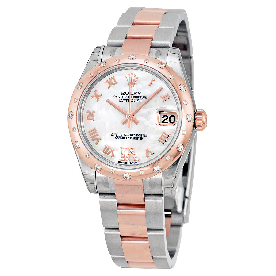Rolex Oyster Perpetual Rose Gold Rolex Oyster Perpetual Datejust 31 Mother Of Pearl Dial Stainless Steel And 18k Everose Gold Bracelet Automatic Ladies Watch 178341mrdo