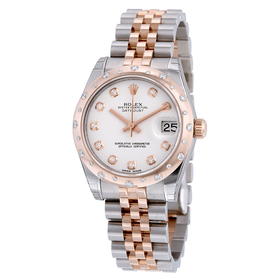Rolex Oyster Perpetual Rose Gold Rolex Oyster Perpetual Datejust 31 White Dial Stainless Steel And 18k Everose Gold Jubilee Bracelet Automatic Ladies Watch 178341wdj