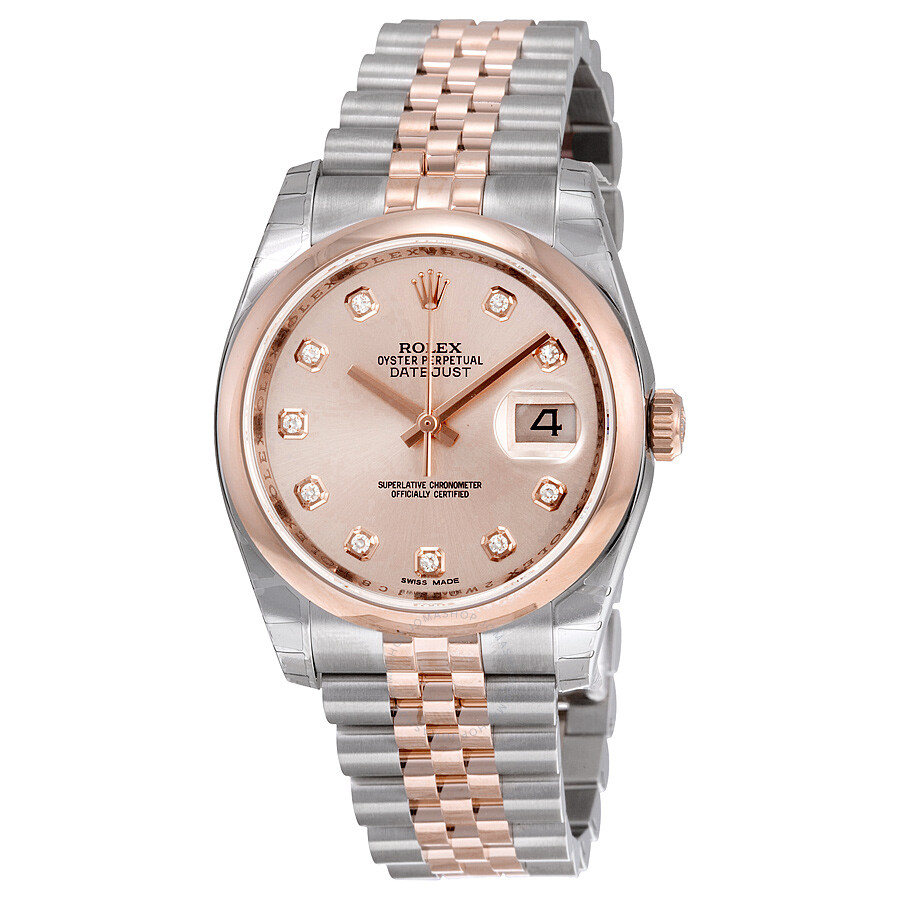 Rolex Oyster Perpetual Rose Gold Rolex Oyster Perpetual Datejust 36 Pink Dial Stainless Steel And 18k Everose Gold Jubilee Bracelet Automatic Ladies Watch 116201pdj