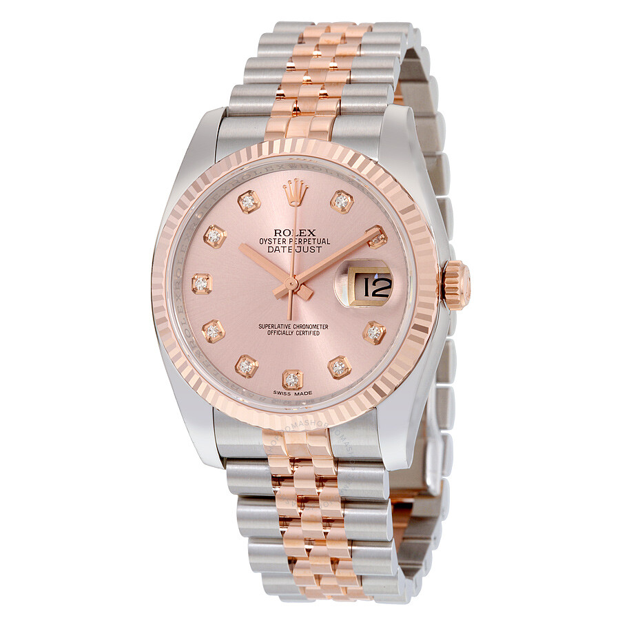 Rolex Oyster Perpetual Rose Gold Rolex Oyster Perpetual Datejust 36 Rose Dial Stainless Steel And 18k Everose Gold Jubilee Bracelet Automatic Men S Watch 116231pdj
