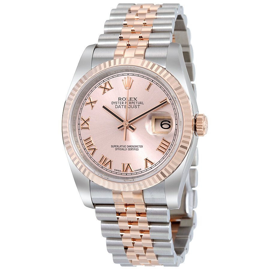 Rolex Oyster Perpetual Rose Gold Rolex Oyster Perpetual Datejust 36 Rose Dial Stainless Steel And 18k Everose Gold Jubilee Bracelet Automatic Men S Watch 116231prj