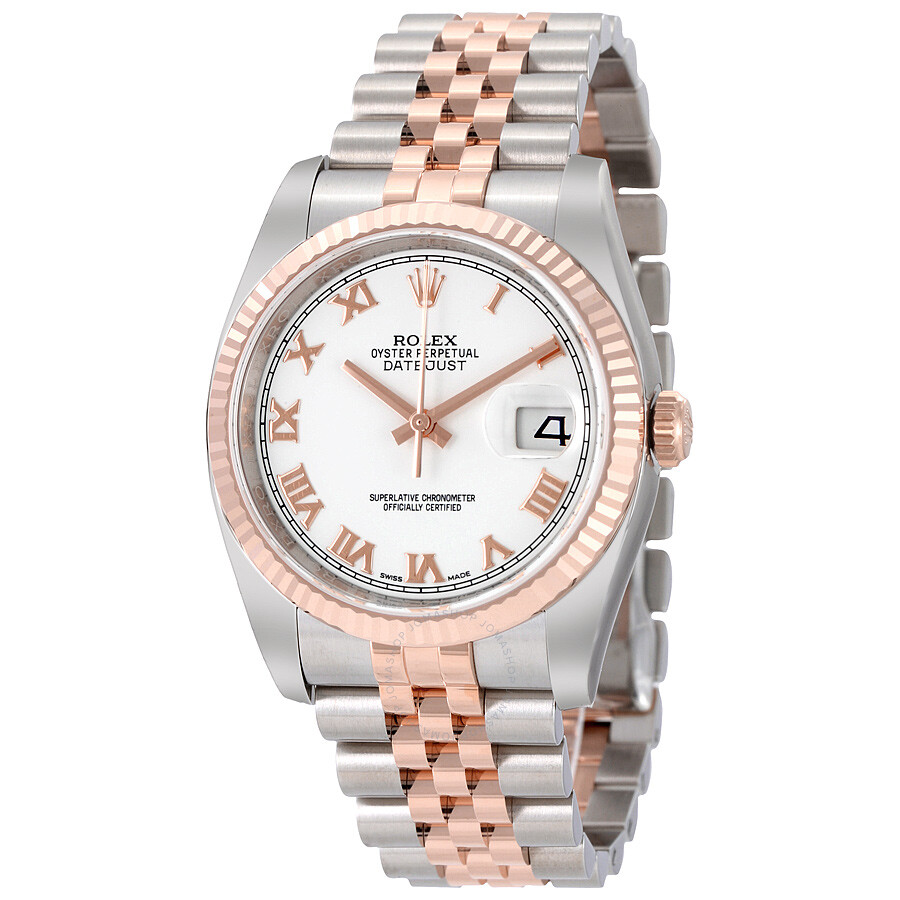 Rolex Oyster Perpetual Rose Gold Rolex Oyster Perpetual Datejust 36 White Dial Stainless Steel And 18k Everose Gold Jubilee Bracelet Automatic Men S Watch 116231wrj