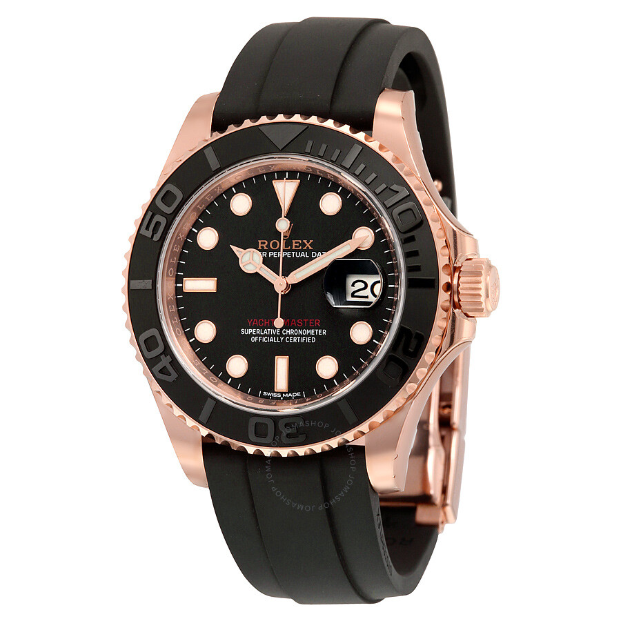 Rolex Rubber Rolex Yacht Master Automatic Black Dial 18kt Everose Gold Black Rubber Strap Men S Watch 116655bksrs