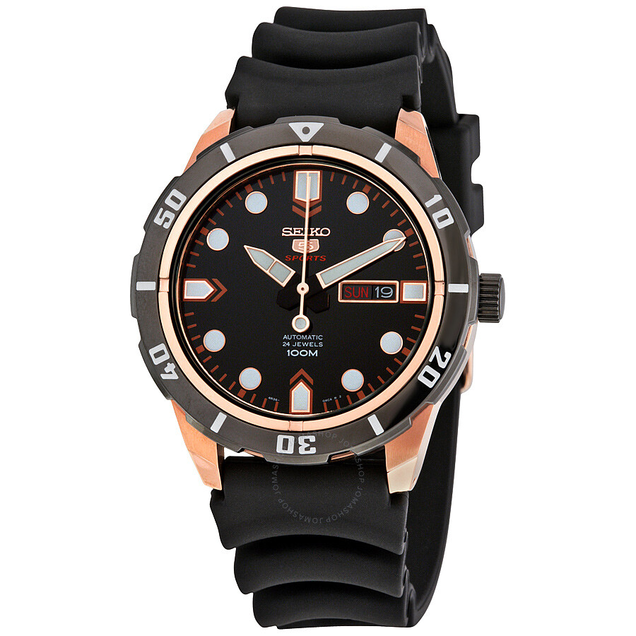 Seiko Srp Seiko 5 Automatic Black Dial Black Leather Men S Watch Srp680