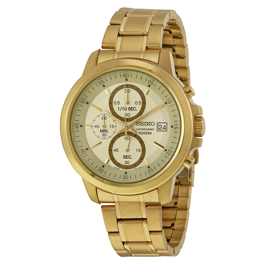 Gold Chronograph Seiko Chronograph Champagne Dial Gold-plated Men's Watch
