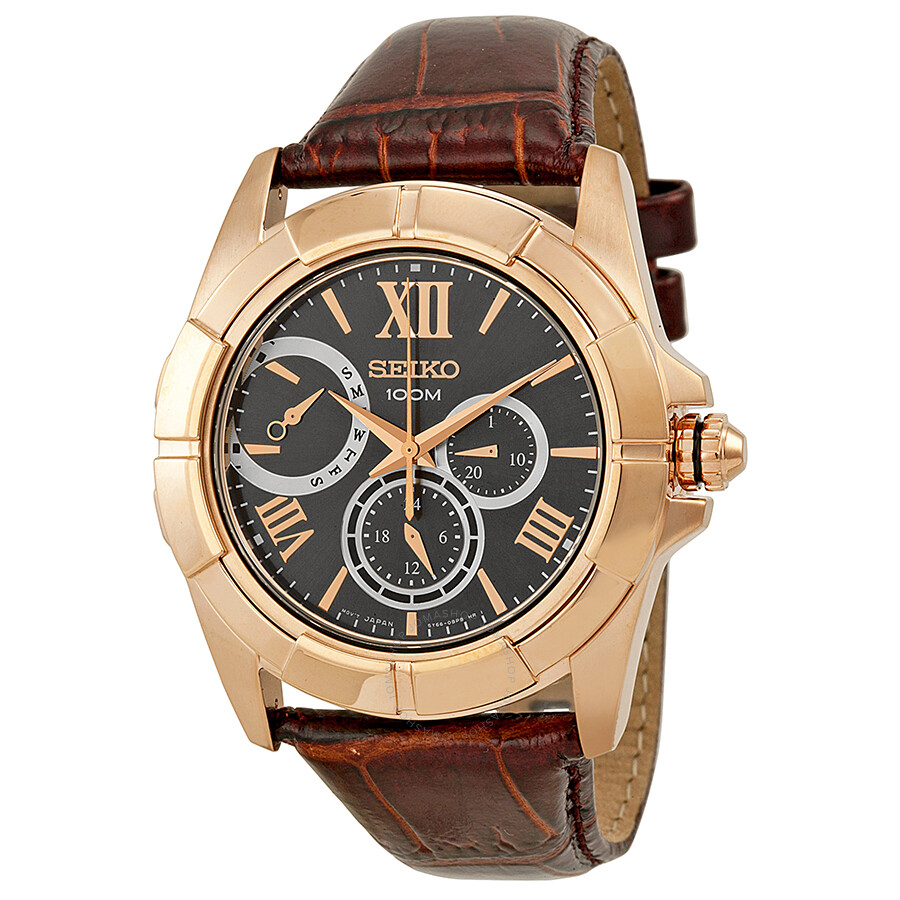 Leather Strap Rose Gold Watch Seiko Classic Rose Gold Tone Stainless Steel Brown Leather Men S Watch Snt046