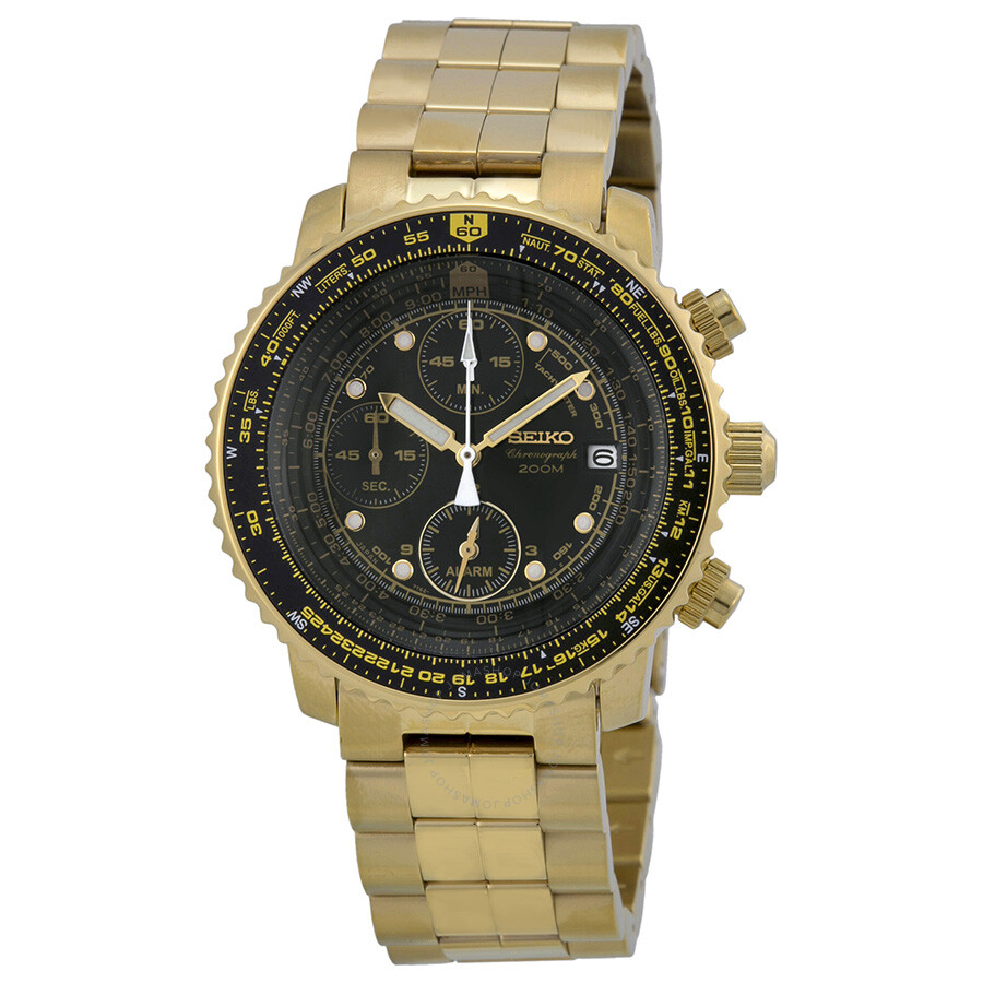 Gold Chronograph Seiko Flight Chronograph Gold-tone Steel Men's Watch