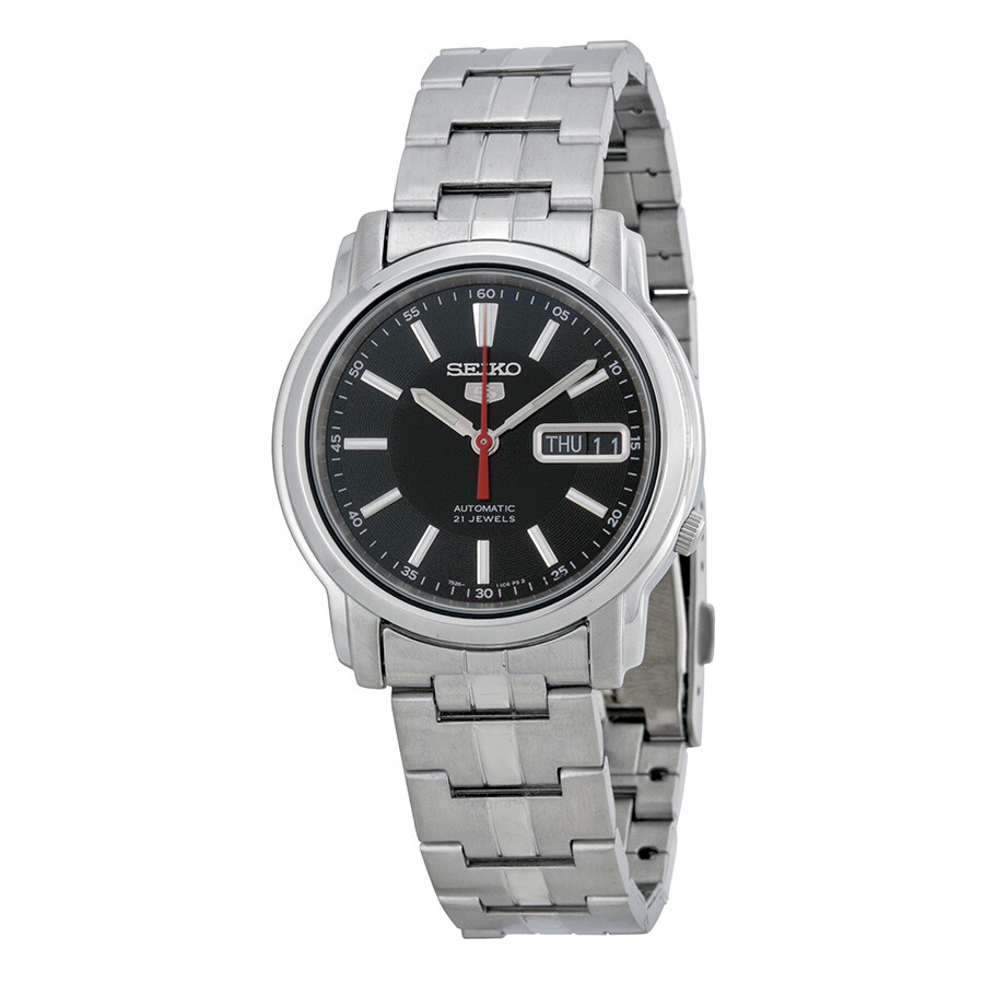 Steel Watch Seiko Series 5 Automatic Black Dial Stainless Steel Watch Snkl83