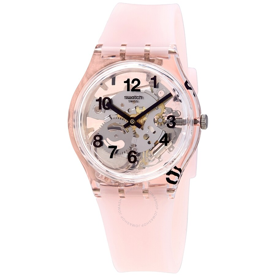 I Watch Ladies Swatch Pink Board Transparent Dial Pink Silicone Ladies Watch Gp158