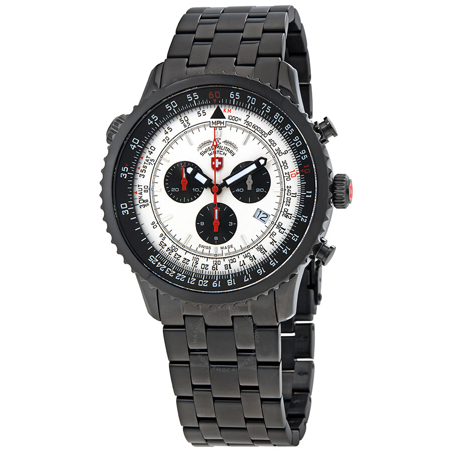 Steel Watch Swiss Military Thunderbolt Chronograph Men S Black Ip Steel Watch 2955