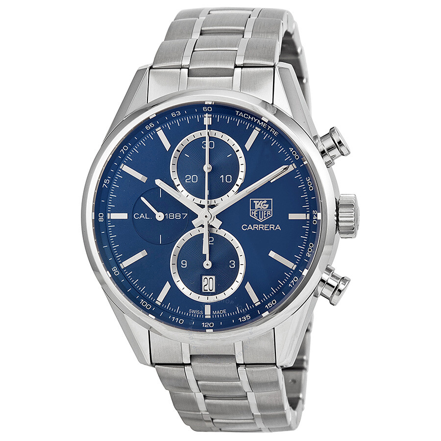 Tag Heuer Carrera Calibre 16 Tag Heuer Carrera Blue Dial Chronograph Stainless Steel