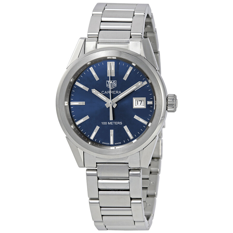 Steel Watch Tag Heuer Carrera Midsize Blue Dial Stainless Steel Watch Wbg1310 Ba0758