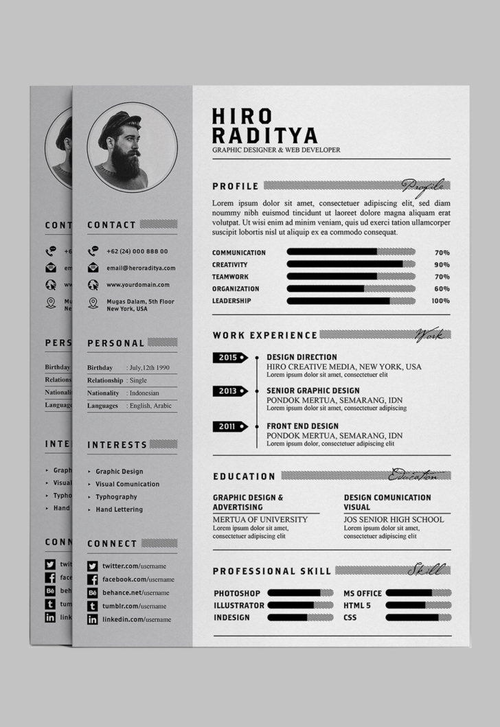 photoshop templates cv free