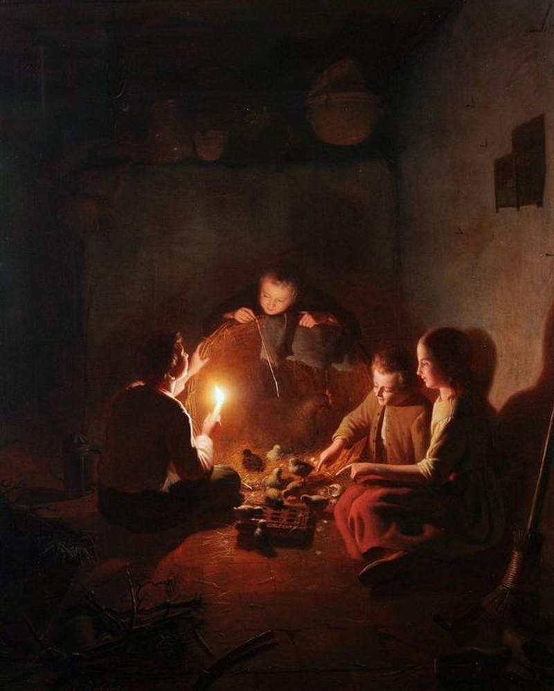 Candle Light Painting Children With Chicks In The Barn By Candlelight