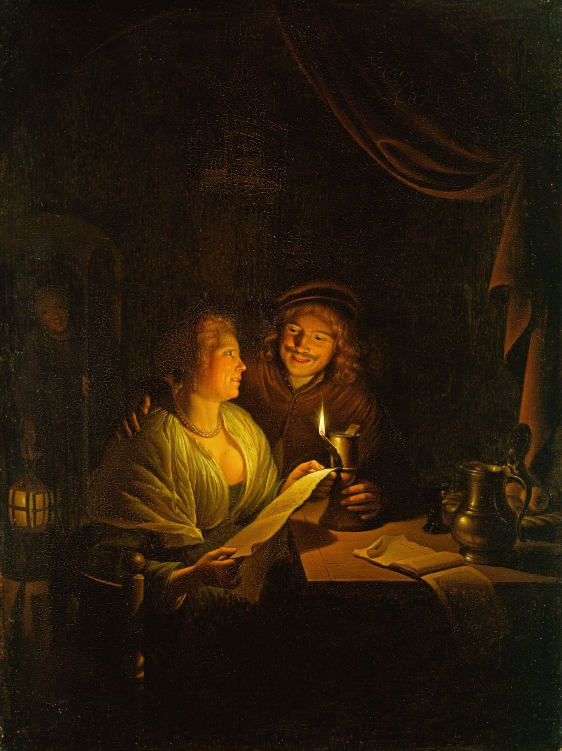 Candle Light Painting A Couple Reading By Candlelight