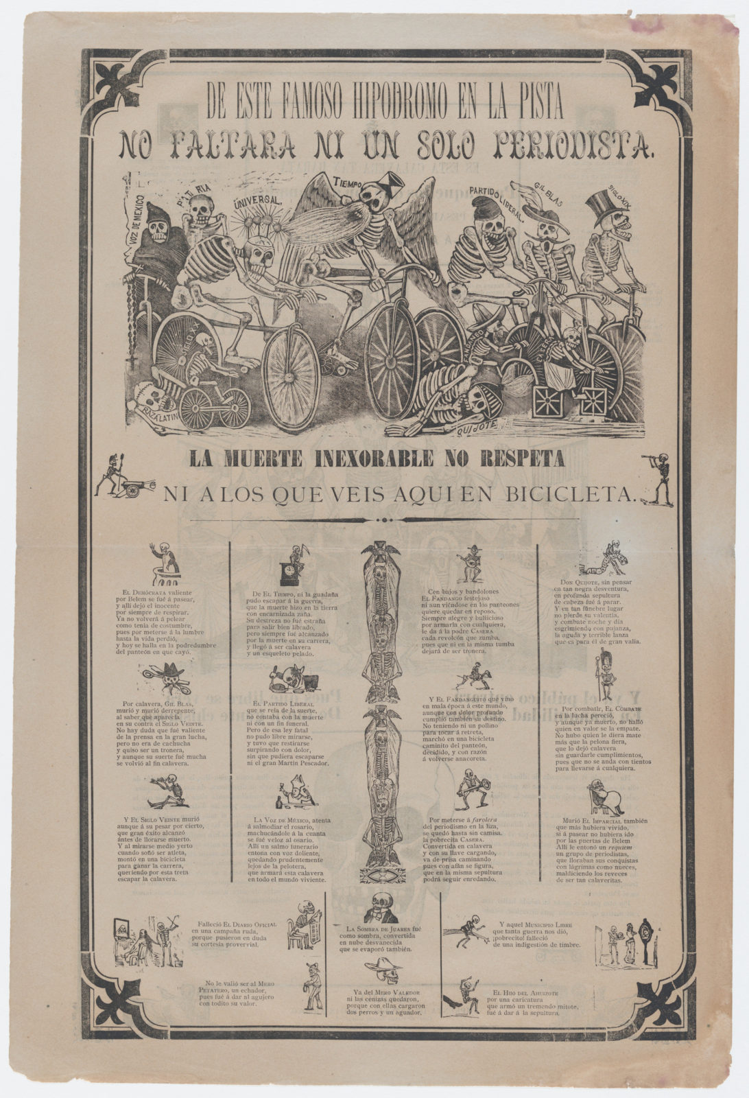 Sempre Un&#39 Broadsheet On Recto Skeletons Riding Bicyles Entitled 39from