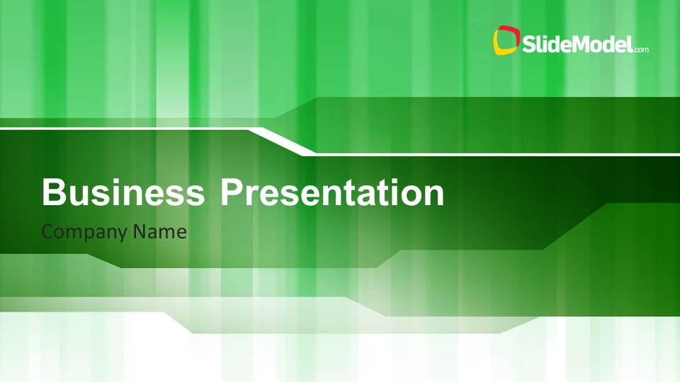 Green Stripes Business PowerPoint Template - SlideModel