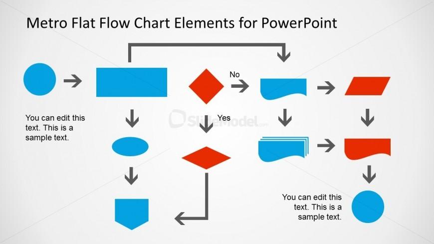 Metro Flat Flow Chart Example Slide for PowerPoint - SlideModel - sample flow chart