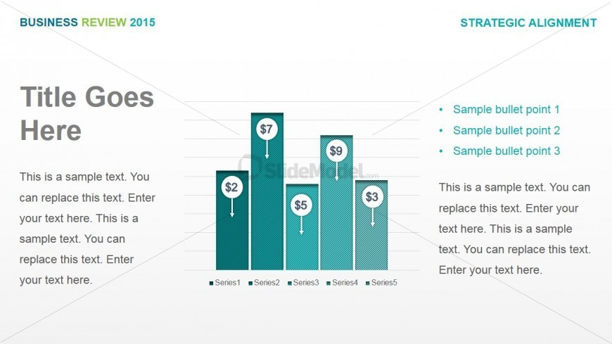 Data Driven Column Chart with Period Variation Icon - SlideModel - business review template
