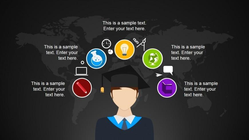 Graduation Cartoon Illustration with PowerPoint Icons - SlideModel