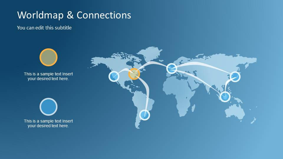 Worldmap  Connections PowerPoint Template - SlideModel